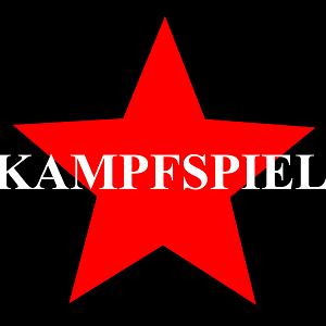 Dieses quadratische dÜsign von Thorsten Hülsberg zeigt einen roten Stern auf schwarzem Grund über dem in weiß Kampfspiel steht.