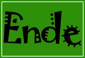 Dieses Bild von Thorsten Hülsberg zeigt auf einem Hintergrund im typischen Design von Der BALLacker das Wort Ende in einer Schriftart, welche an ein Virus erinnert.