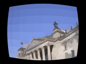 Dieses Bild von Thorsten Hülsberg zeigt den Berliner Reichstag in ganz einfachen Clustern in einer Art schwarzen Bildschirm.