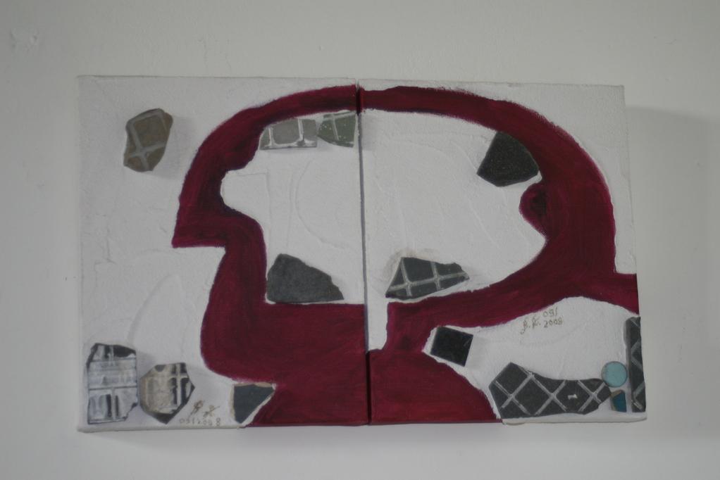 Relief mit Fundstücken vom Schuttplatz der Alten Schule, N. Arun