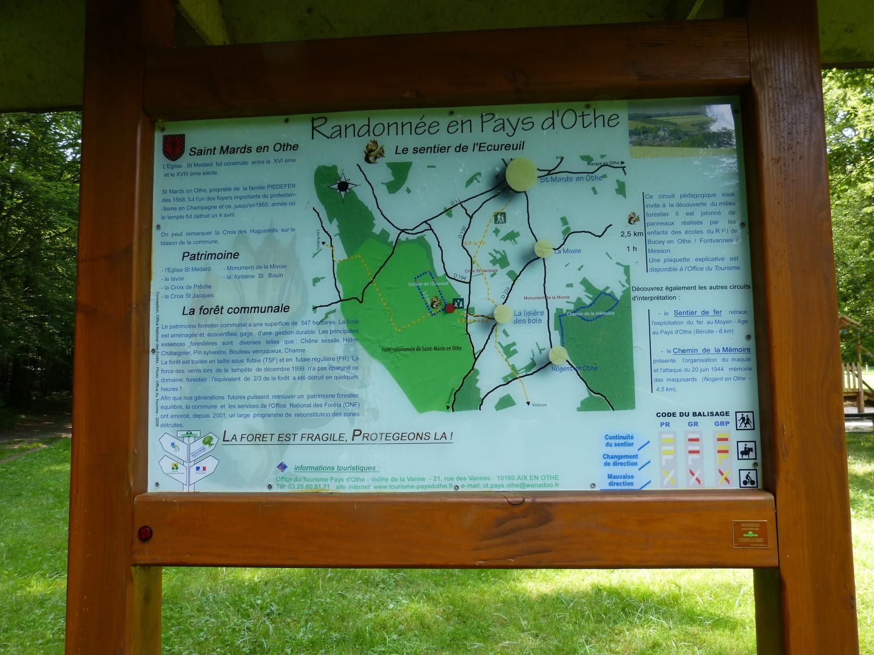 plan sentier de l'écureuil, Pays d'Othe