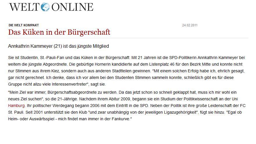 """""""Das Küken in der Bürgerschaft"""" – Ein weiterer Artikel über den Einzug von mir in die Hamburgische Bürgerschaft, dieses mal aus der """"Welt Online"""", 24. Februar 2011."""