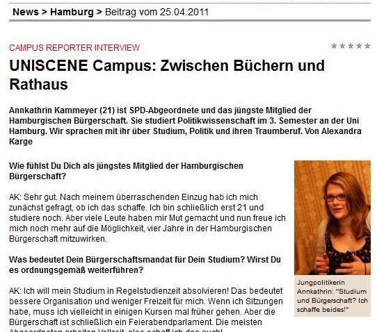 """""""Zwischen Büchern und Rathaus"""" – Ein Interview mit dem Magazin """"Uniscene"""" zu meiner Tätigkeit als Abgeordnete und als Studentin, 25. April 2011."""