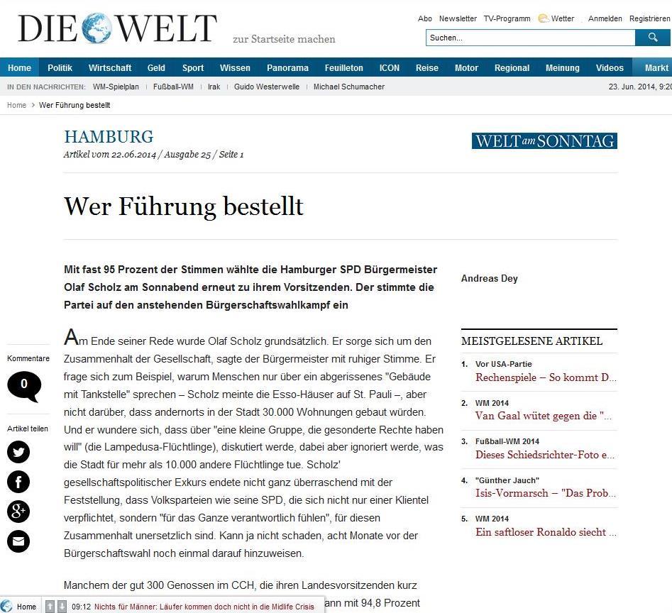 """""""Wer Führung bestellt"""" – Ein Artikel aus """"Welt Online"""" über den SPD Landesparteitag vom 21.06.2014."""