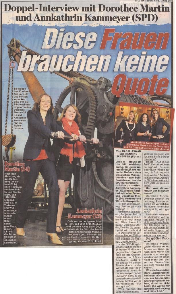 """""""Diese Frauen brauchen keine Quote"""" – Doppelinterview Dorothee Martin und Annkathrin Kammeyer, 08. März 2012"""