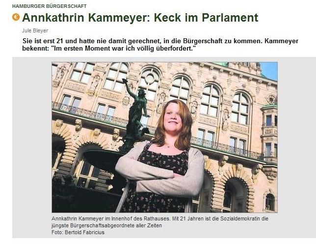 """""""Keck im Parlament"""" – Einer der ersten Artikel über meinen Einzug in die Hamburgische Bürgerschaft, 07. März 2011."""