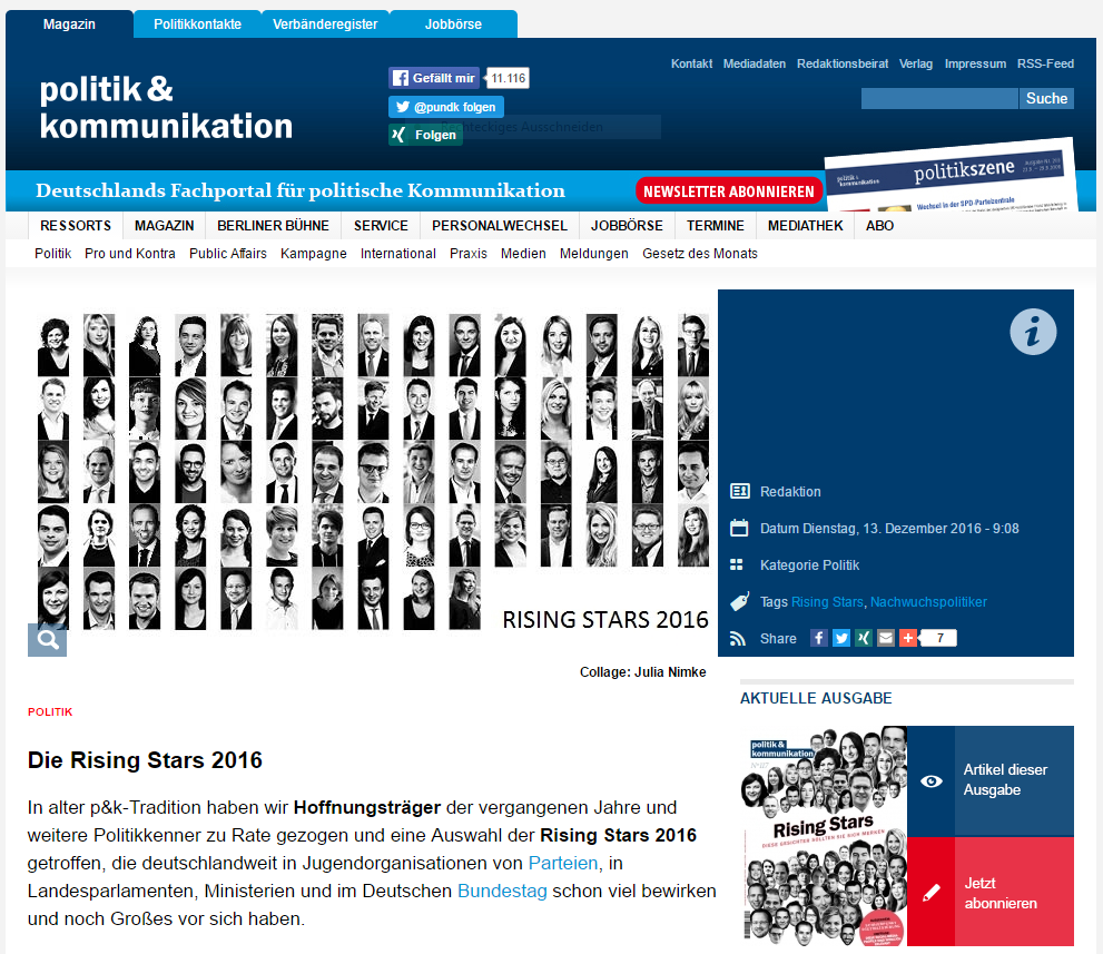 """Rising Stars 2016"" – politik&kommunikation, Dezember 2016."