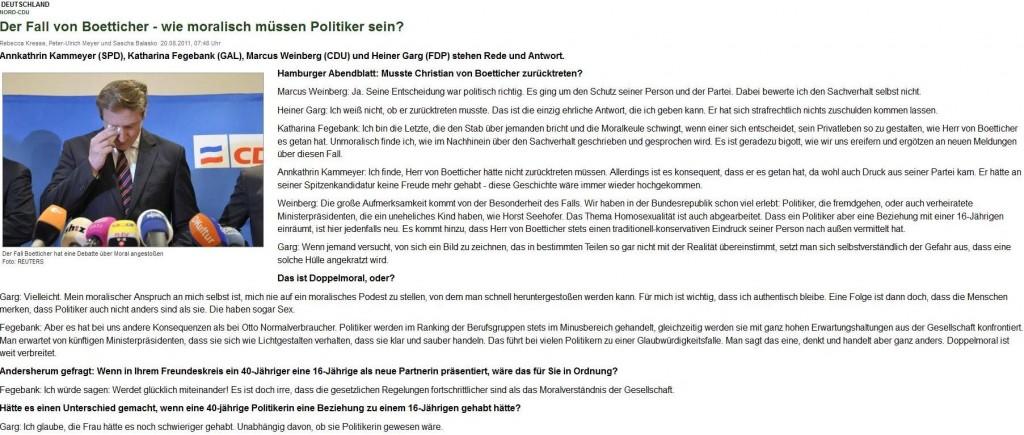 """""""Wie moralisch müssen Politiker sein – der Fall von Boetticher"""" – Ein Interview mit Annkathrin Kammeyer (SPD) u.a. im Hamburger Abendblatt, 20. August 2011."""