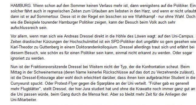 """""""Wenn Hamburger Politik auf Wirklichkeit trifft"""" – Ein Artikel aus dem Abendblatt über Sommertour der Politiker, 28. Juli 2011."""