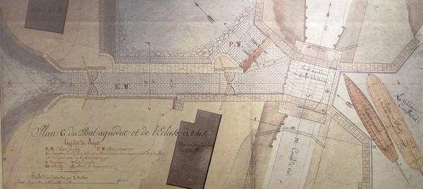 Plan d'ingénieur du début du XIXe siècle en vue de l'aménagement de l'écluse du Gouffre.