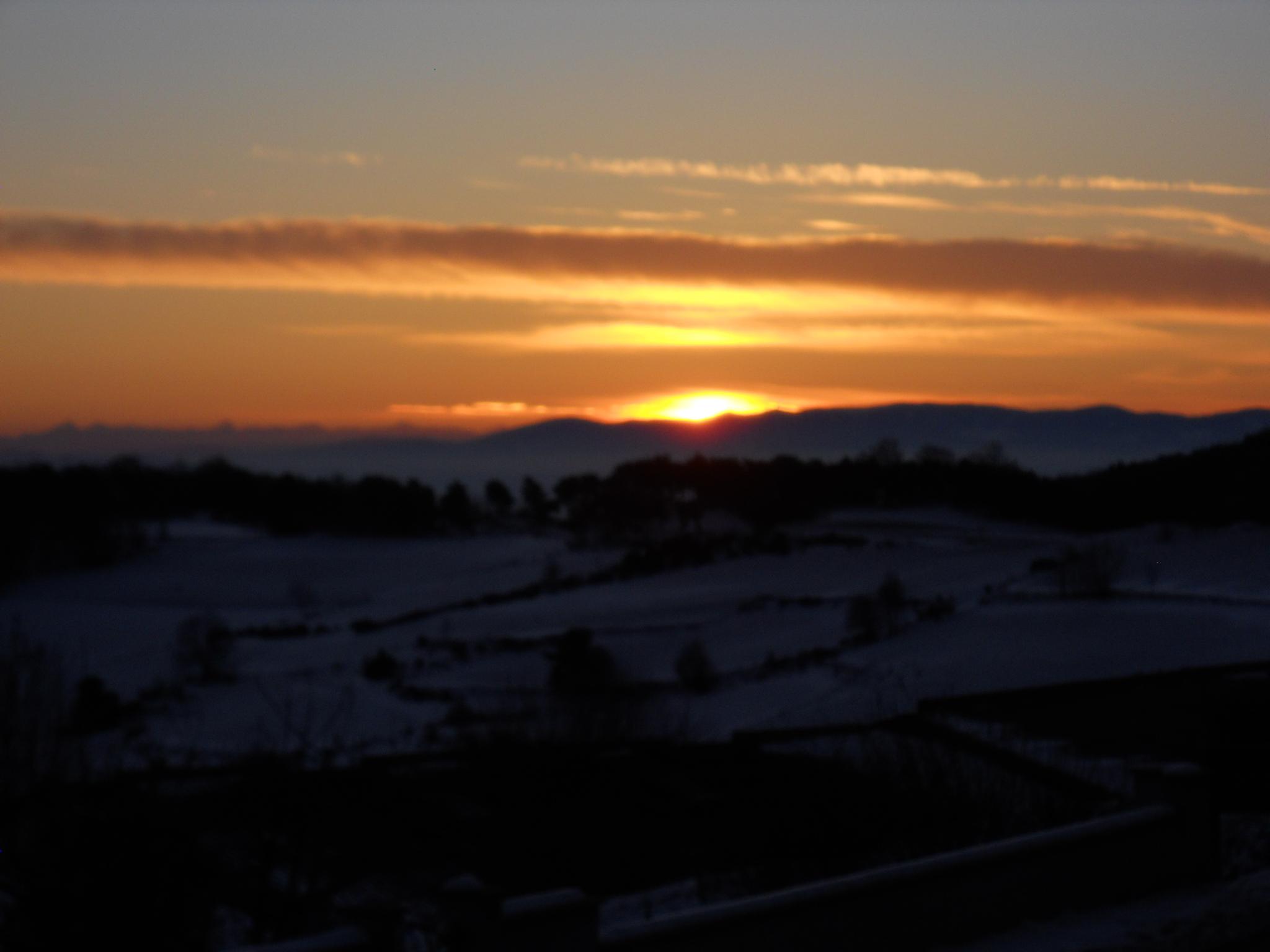 lever de soleil depuis Chavannes en hiver