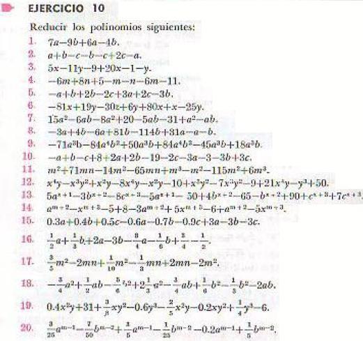 Algebra de Baldor - ejercicio 10 - pagina 23