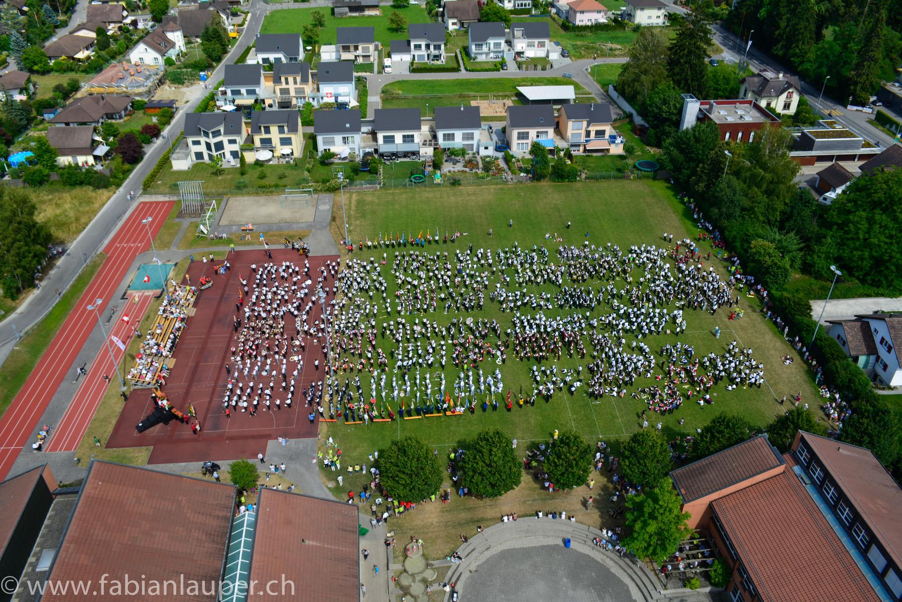 Gesamtchor mit über 2000 Musizierenden / Kantonales Musikfest Müllheim TG 20.-22. Juni 2014