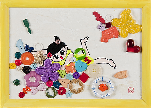 2008, 20.1 x 28.0 cm, 無題 (Untitled), Acrylic, plaster, thread and plastic objects on canvas