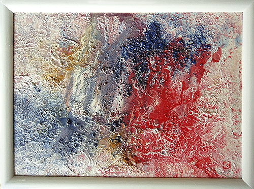 2006, 26.5 x 35.5 cm, 雨 (Rain), Acrylic powder, plaster and rain on canvas