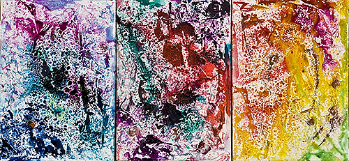 2010, 36.3 x 25.8, 春一番 (First Spring Wind), Acrylic, ink, plaster and rain on canvas [3 pieces]