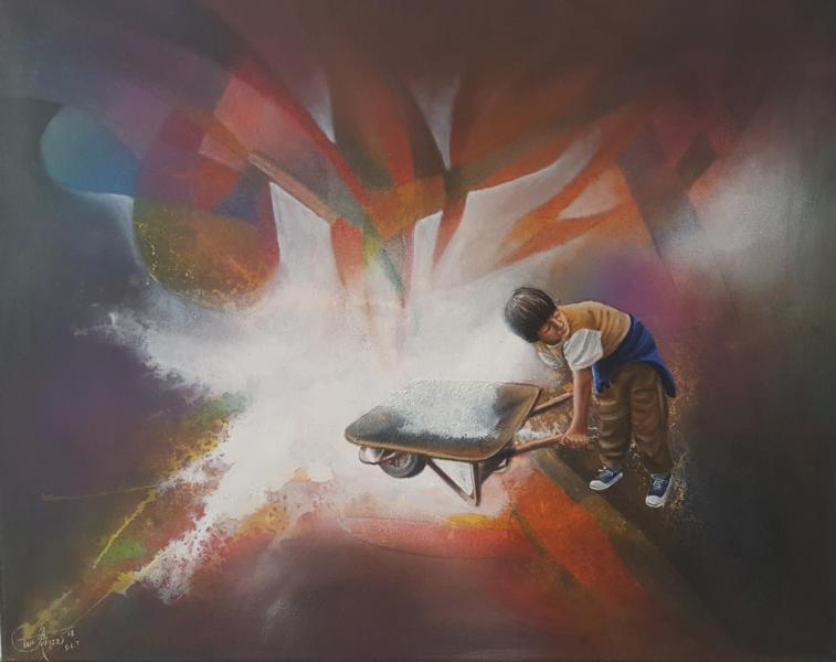 Bienvendia luz VII, 2018, 60 x 50 cm, Óleo sobre lienzo