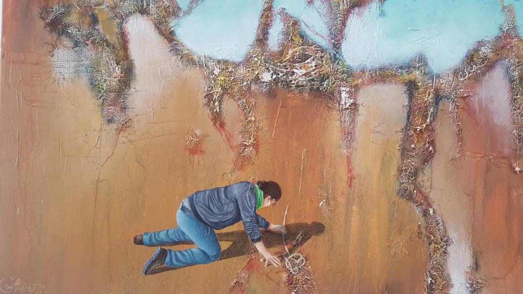 Yo, el buscador/Ich, ein Suchender, 2016, 80 x 60 cm, Mischtechnik