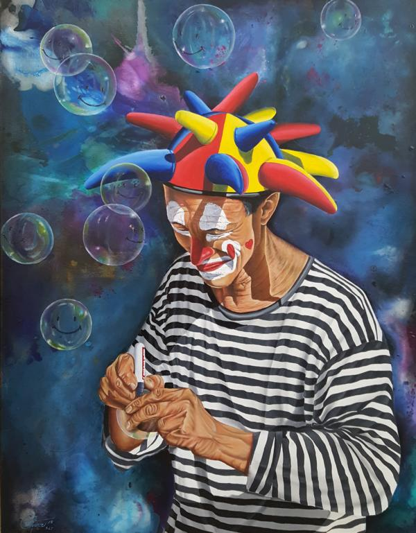 """Der Lachen-Macher, aus der Serie """"Stille Poesie"""", 2018, 70 x 90 cm, Öl auf Leinwand"""