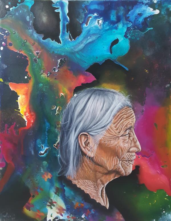 """Abuela Ixchel (Göttin der Textilien), aus der Serie """"Stille Poesie"""", 2018, 70 x 90 cm, Öl auf Leinwand"""