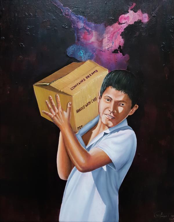"""Manéjese con cuidado, de la serie """"Poesía Silenciosa"""", 2018, 60 x 80 cm, Óleo sobre lienzo"""