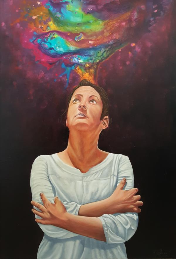 """Muse, aus der Serie """"Stille Posie"""", 2019, 70 x 100, Öl auf Leinwand"""