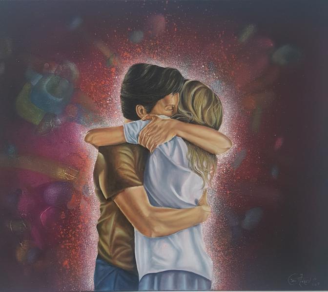 "Abrazo, de la serie ""Poesía Silenciosa"", 2019, 50 x 60 cm, Óleo sobre lienzo"