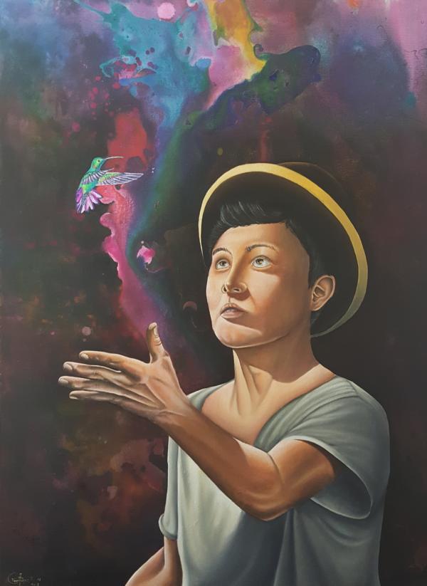 """El mensajero, de la serie """"Poesía Silenciosa"""", 2018, 60 x 80 cm, Óleo sobre lienzo"""