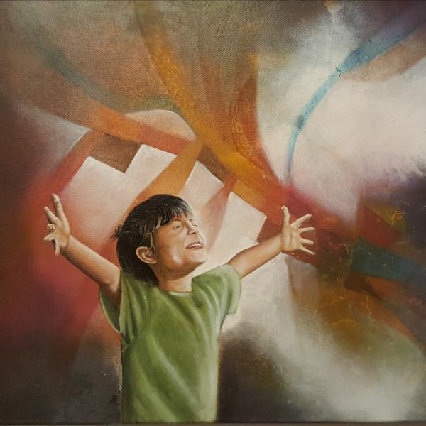 Hello Light III, Caleb, 2018, 60 x 50 cm, Oil on Canvas