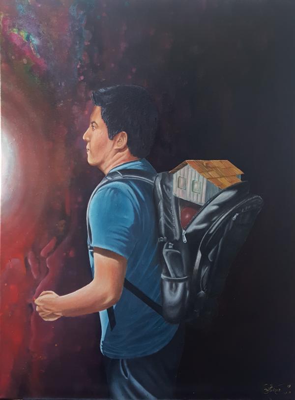 """Migrant, aus der Serie """"Stille Poesie"""", 2019, 60 x 80 cm, Öl auf Leinwand"""
