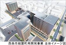 西条市紺屋町再開発 全体イメージ(上空から)