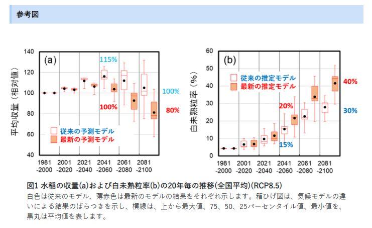 【参考文献】農研機構|気候変動による水稲の収量や外観品質への影響は従来の予測以上に深刻である