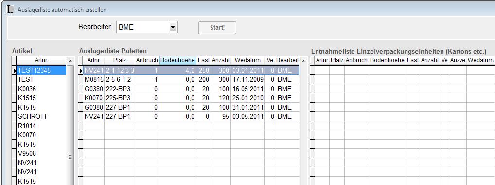 Automatisches Auslagern per elektronischer Liste