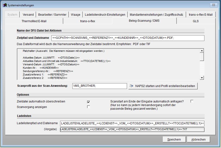 Programmeinstellungen - hier das optionale Scan-Modul für Begleitpapiere