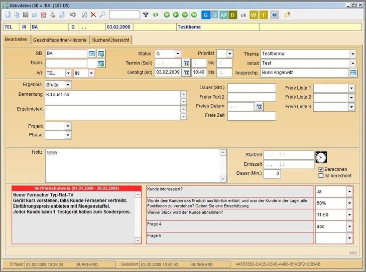 Aktivitätendetails mit Einblendung einer Vertiebshilfe für Kundenkontakte