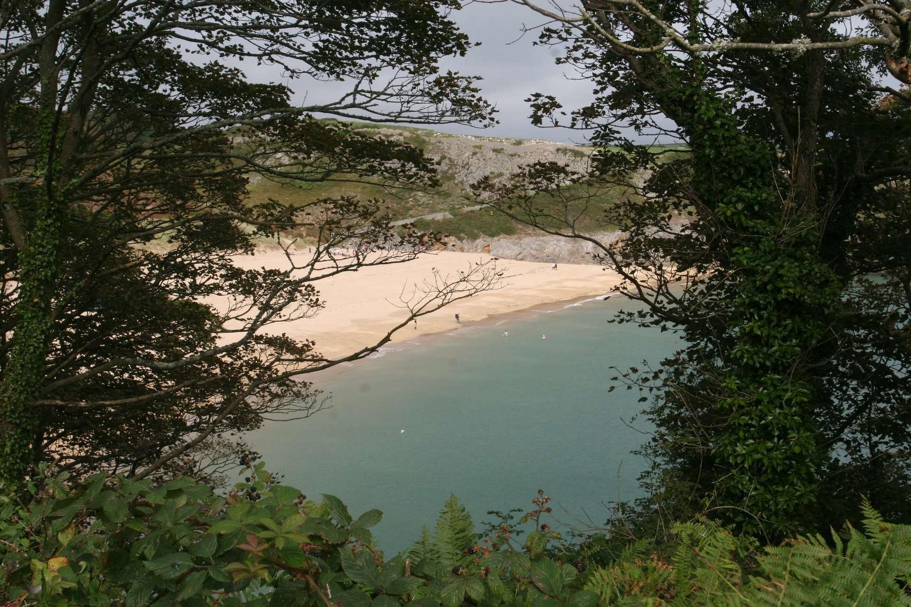 Blick von oben auf den breiten Sandstrand der Barafundle Bay