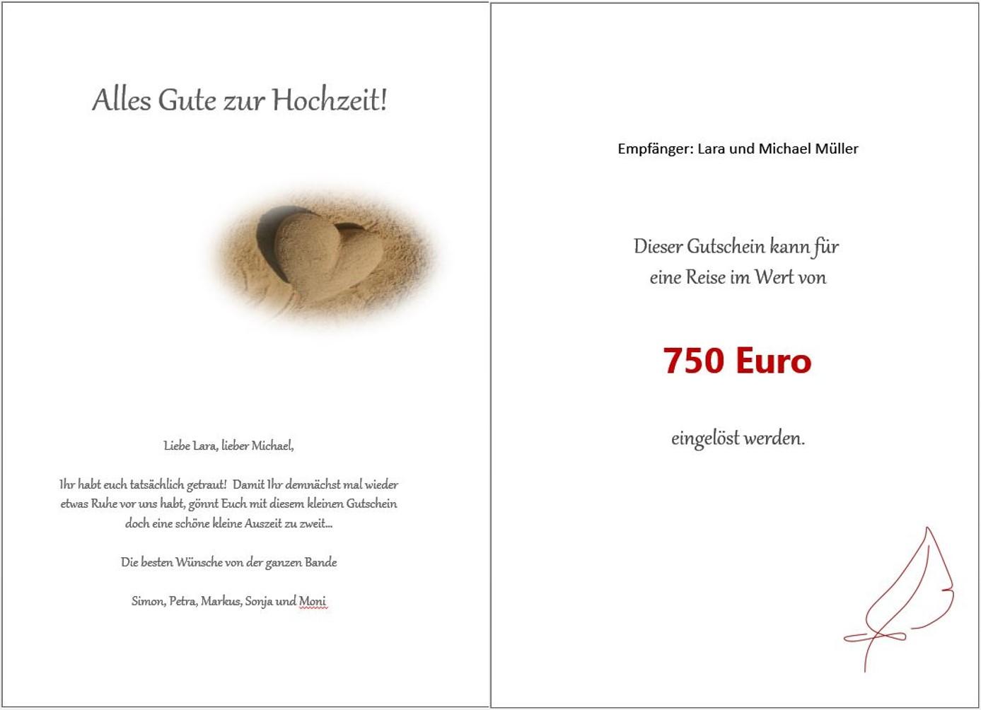 """Gutschein """"Hochzeit"""" innen"""