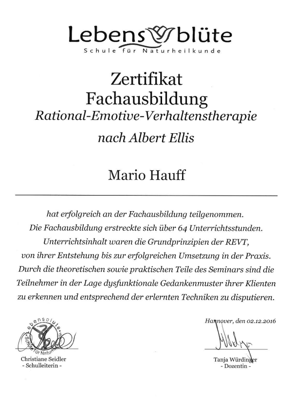 Zertifikat REVT Lebensblüte Hannover