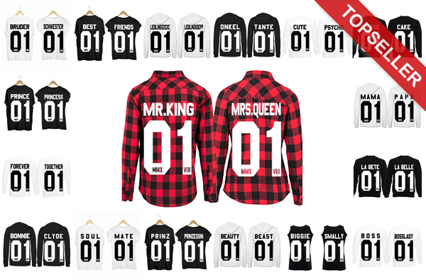 king 01 queen 01 partner pulli partnerlook best friends prince princess tshirt