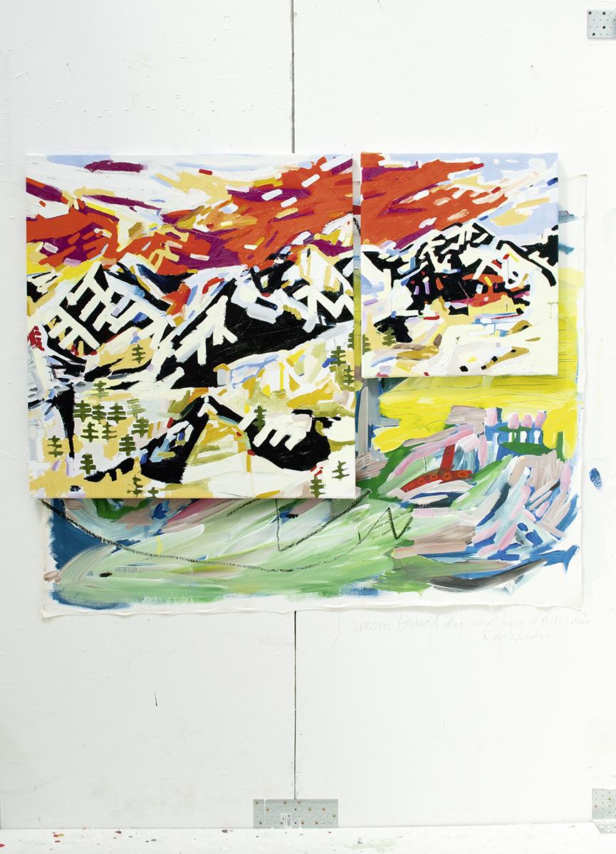 bergmann, 2017, Öl- und Acrylfarbe auf Leinwand, 95 x 150 cm (im Prozess)