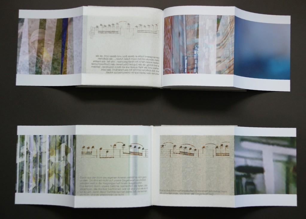 wer-gerne-eine-Reise-tut..._2012_oben:-2-seiten-mit-2-montierten-japanpapierseiten-aus-band1-unten:-2-seiten-mit-2-montierten-japanpapierseiten-aus-band2_pigmentdruck-auf-image-impact-japanpapier-und-hochtransparentpapier-17x18,2cm