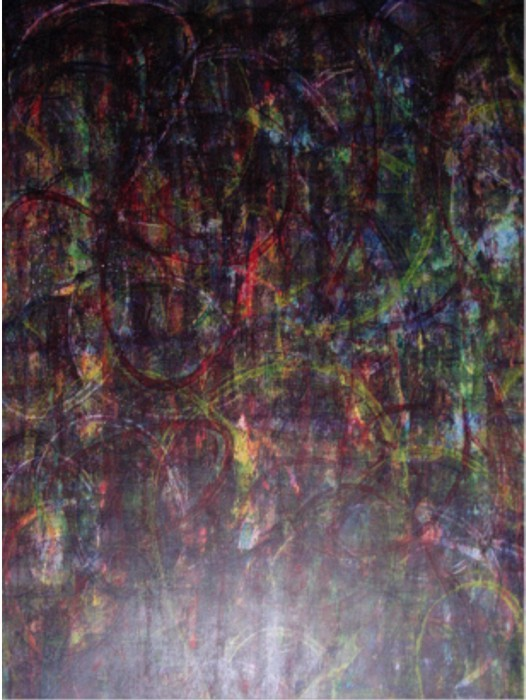 untitled 1992 (colours' experiment) Acrylic Colours on Drawing Paper, fixed, Size:  ca. 100 x 70 cm
