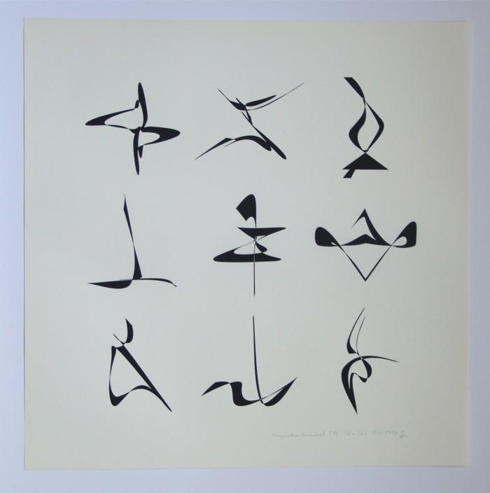 Magisches Quadrat 816, 1997. Siebdruck auf Japan- und andere Papiere (in Kleinstauflage), Format: 46 x 46 cm