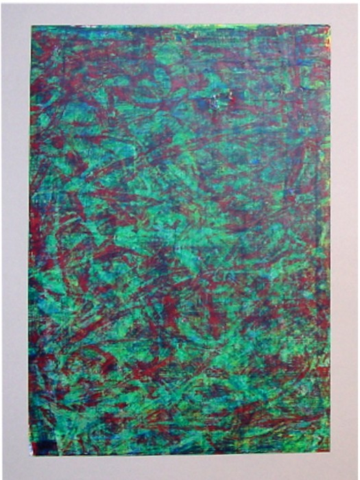 o.T. 1991 (Farbexperiment) Mischtechnik auf Zeichenpapier, Format: ca 38 x 27 cm