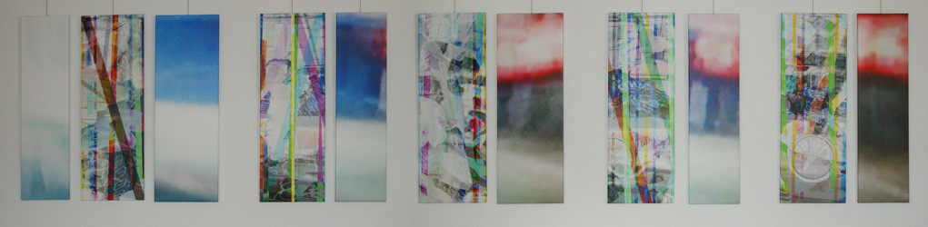 untitled, 2011 (11 single parts). Inkjet-Print on Canvas. Size: 7x 100 x 35 cm and 4x 100 x 27 cm