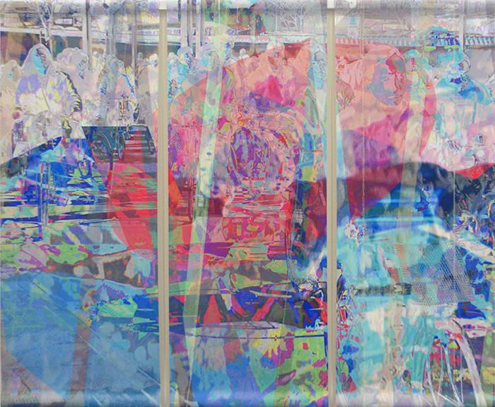 wet107x130n3, 2013. imprime et crayon sur canvas. 106,5x133 cm