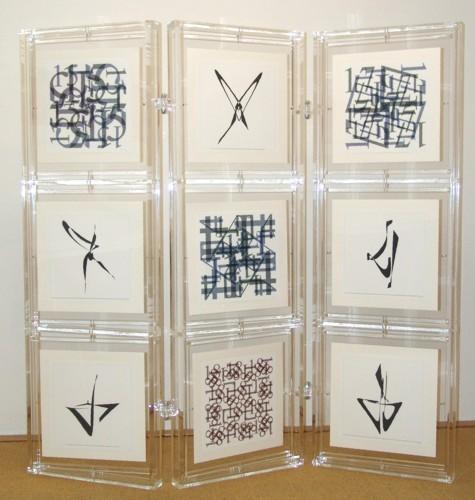 Panel with the artist's book Von zehn bis achtzehn - ein magisches quadrat, 2004