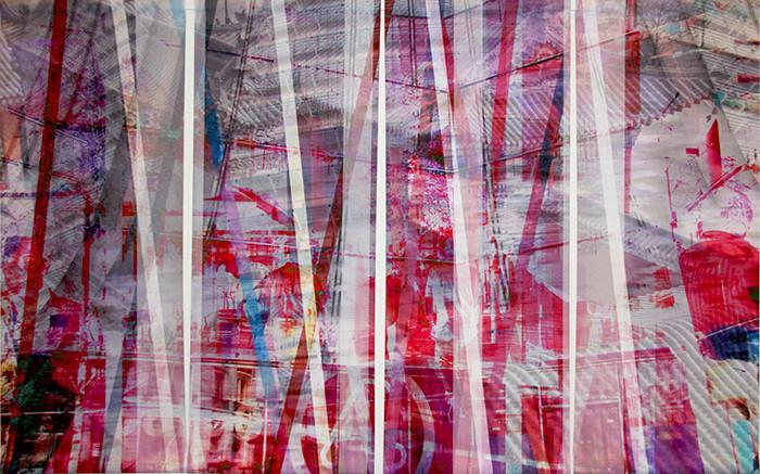 wet107x173n4, 2013. imprime et crayon sur canvas. 106,5x179 cm