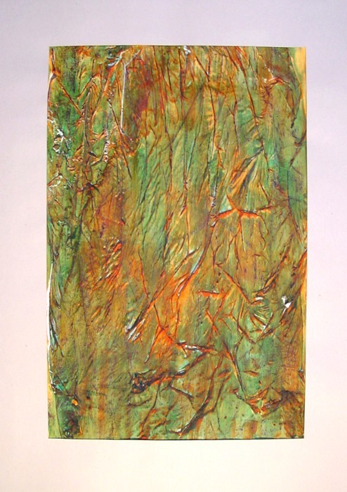 untitled 1992 (colours' experiment) Mixed Media on Transparent Paper, fixed, Size:  ca. 53 x 34 cm