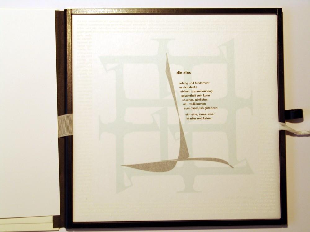 Die Eins. Siebdruck in Kleinstauflage auf Japan- und Offsetpapier, Format 40 x 40 cm